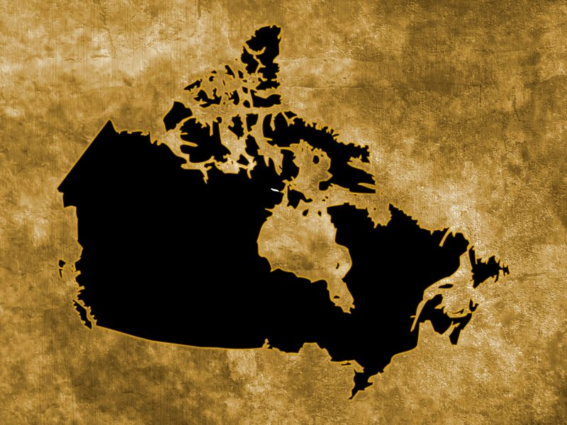 Grunge,Illustration,With,The,Map,Of,Canada